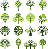 Tree badges. Abstract graphic nature eco pictures simple growth plants vector emblem. Plant growth and eco emblem environment illustration