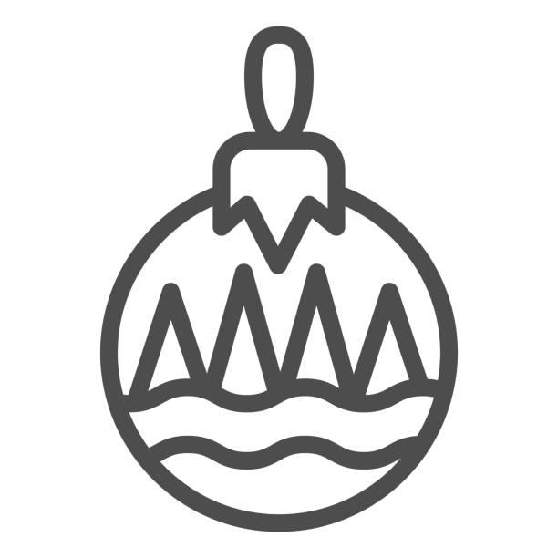 illustrazioni stock, clip art, cartoni animati e icone di tendenza di icona della linea della palla ad albero. simbolo di decorazione giocattolo albero, pittogramma in stile contorno su sfondo bianco. segnale natalizio per concetto mobile e web design. grafica vettoriale. - souvenir