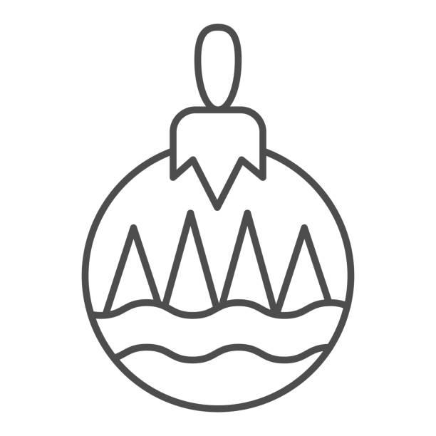 illustrazioni stock, clip art, cartoni animati e icone di tendenza di icona della linea sottile della palla ad albero. simbolo di decorazione giocattolo albero, pittogramma in stile contorno su sfondo bianco. segnale natalizio per concetto mobile e web design. grafica vettoriale. - souvenir