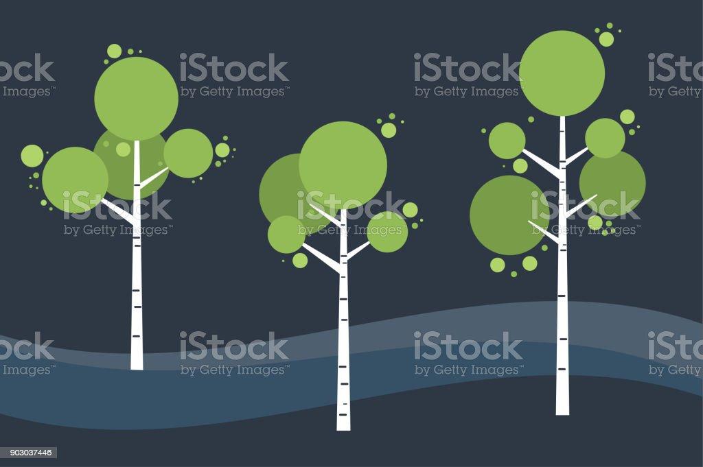Tree birch in springtime, summer. Night landscape. Vector stylized. vector art illustration