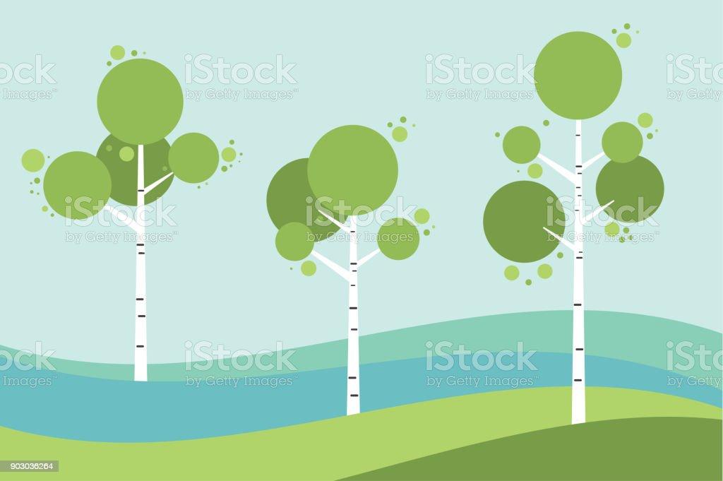 Tree birch in springtime, summer. Vector stylized. vector art illustration