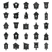 Tree bird house icons set. Simple set of tree bird house vector icons for web design on white background