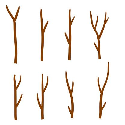 Tree branch. Set of different brown sticks. Cartoon flat illustration