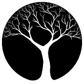Black and white tree symbol in vector