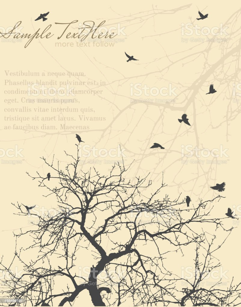 Tree Branch with sparrows vector art illustration