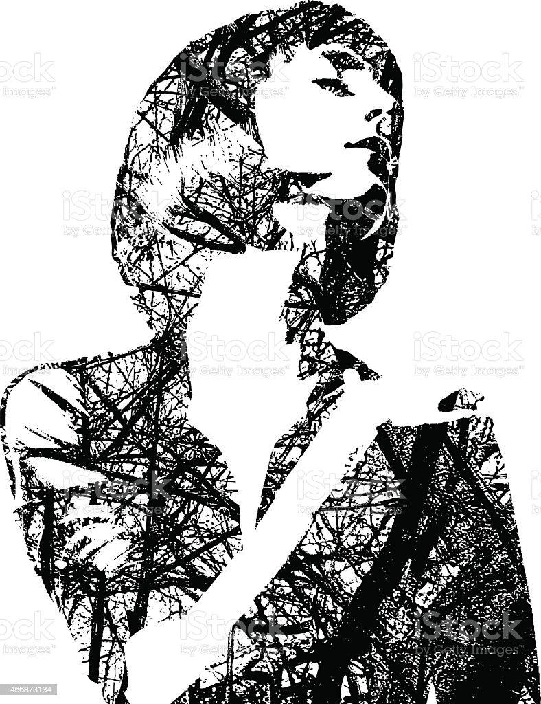 Tree Branches Woman vector art illustration
