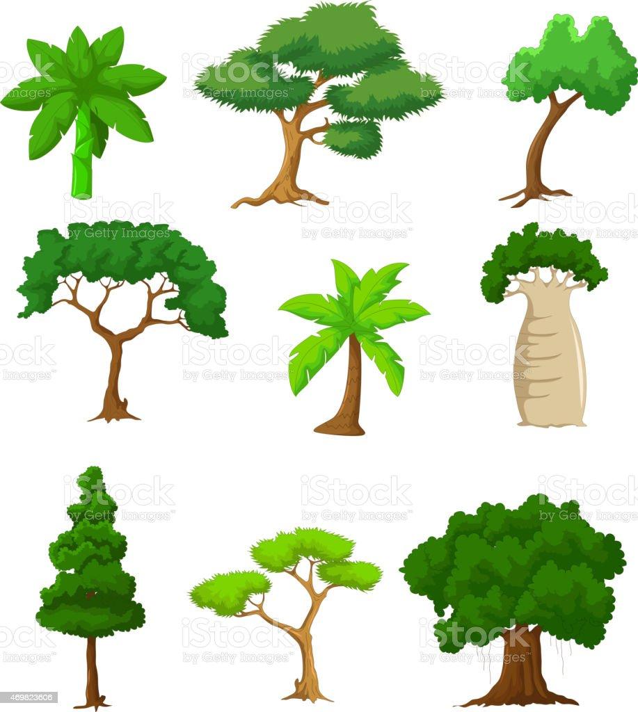 tree cartoon collections vector art illustration