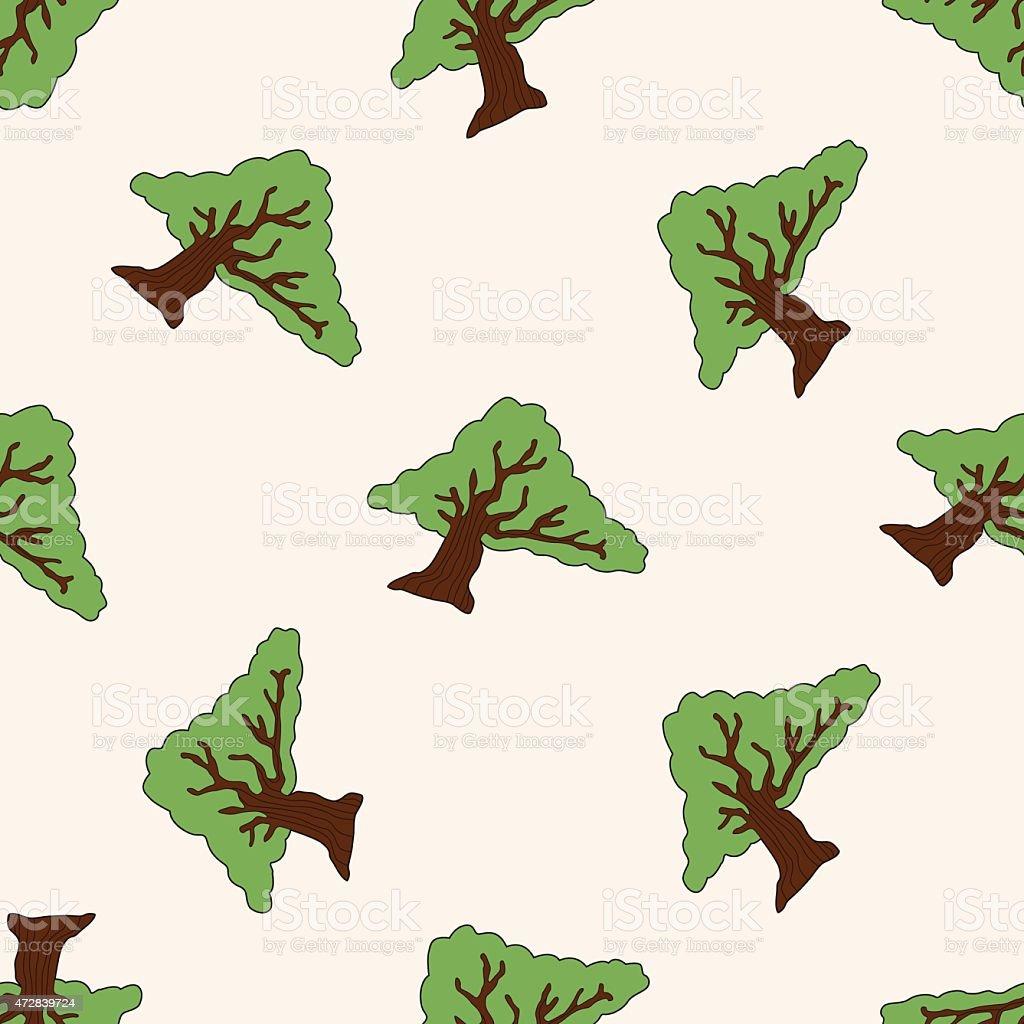 Ilustración De árbol De Dibujos Animados Patrón Sin Costuras Fondo Y