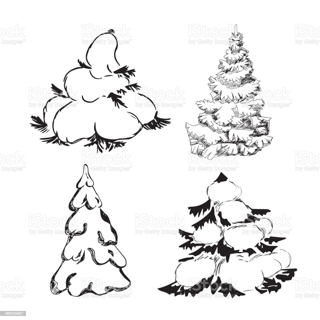 Tree Covered With Snow Doodle Sketch Stock Illustration ...