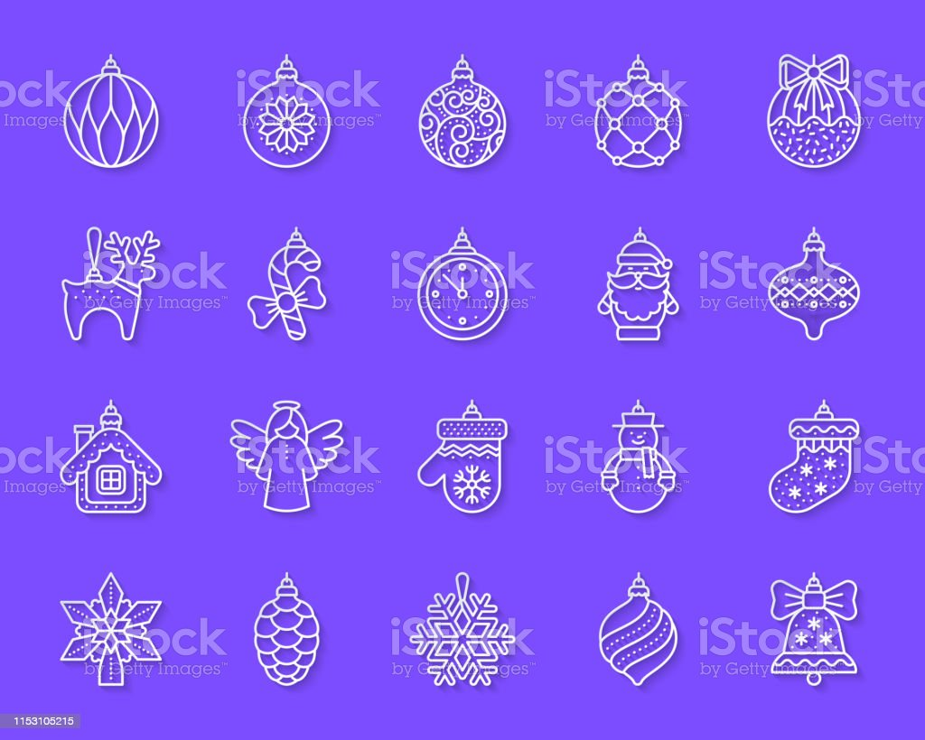 Tree Decorations paper cut line icons set. 3D web sign kit of...