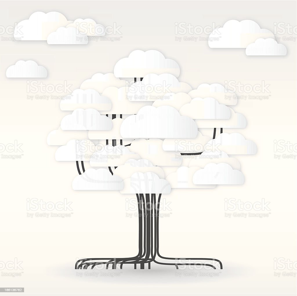 Tree design with clouds. royalty-free tree design with clouds stock vector art & more images of abstract