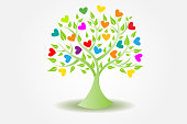 Tree ecology leafs and hearts figures icon logo vector design