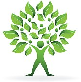 Tree ecology green abstract man icon vector design
