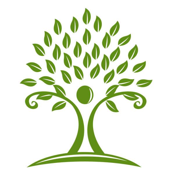 baum-ökologie-mann-symbol-symbol - landschaftstattoo stock-grafiken, -clipart, -cartoons und -symbole