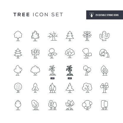 Tree Editable Stroke Line Icons