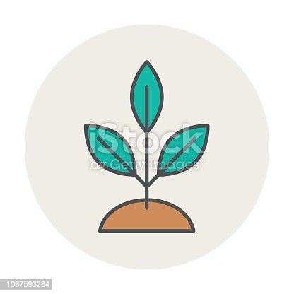 Tree Environment Icon in thin line flat design style.