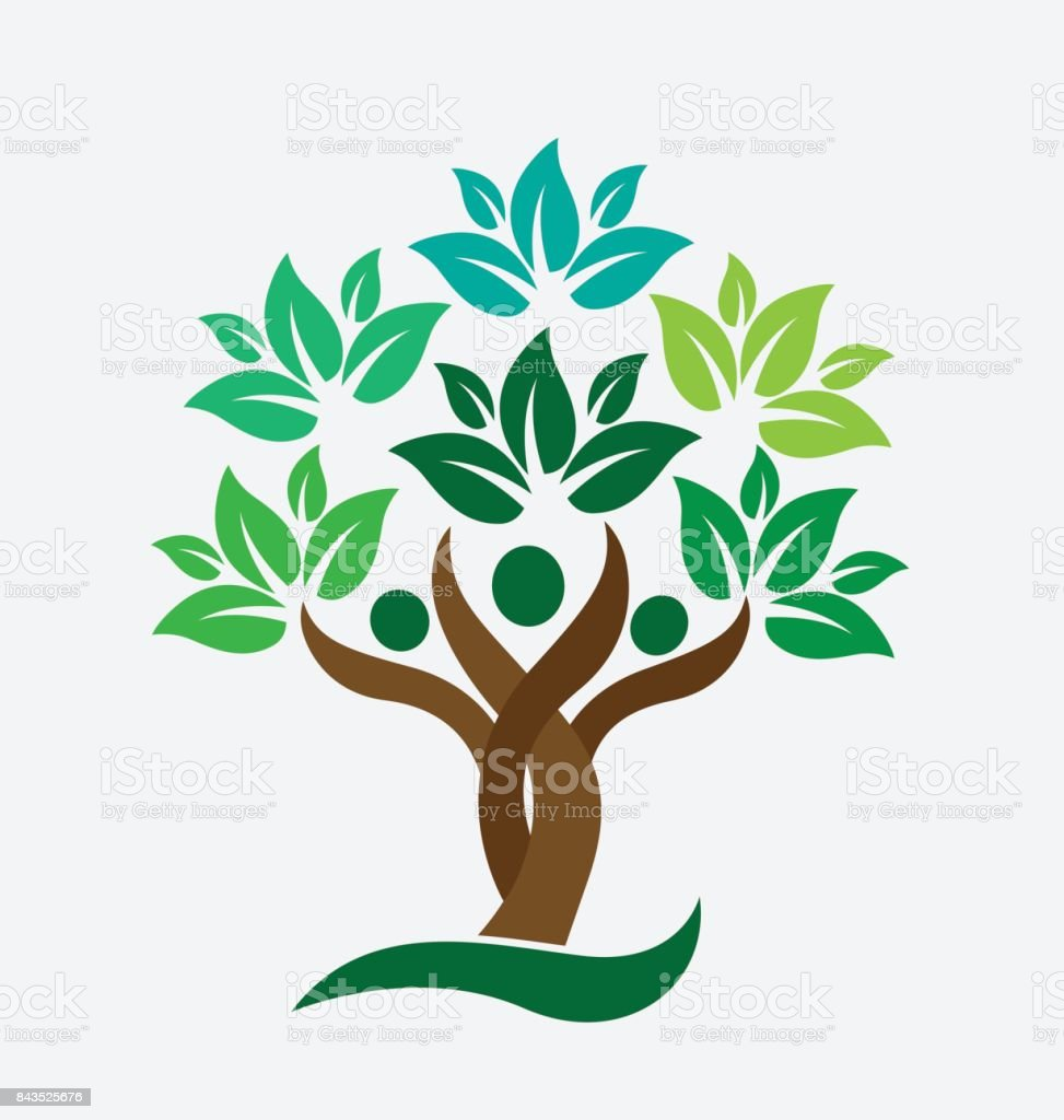 Tree family people green leafs . Ecology concept icon vector design vector art illustration