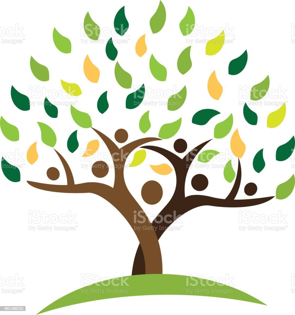 tree family people green leafs . Ecology concept vector design vector art illustration