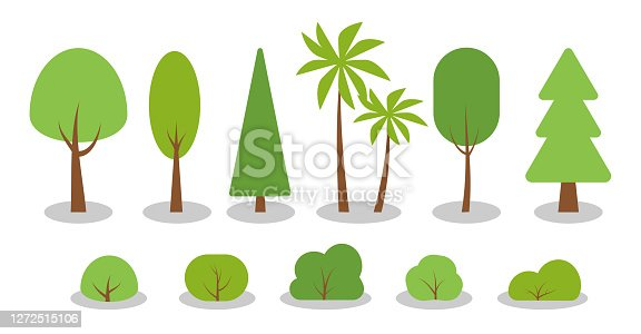 Green spring cartoon trees, bushes flat icon set. Simple different shape eco organic plant sign. Summer season forest, park, garden oak, birch, fir, palm, symbol. Isolated on white vector illustration