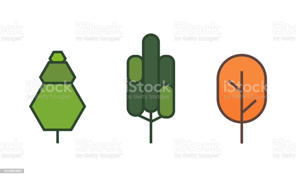 Tree flat style on white background color vector illustrator. vector art illustration