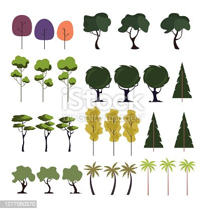 Tree forest isolated on white background set. Vector flat graphic design cartoon