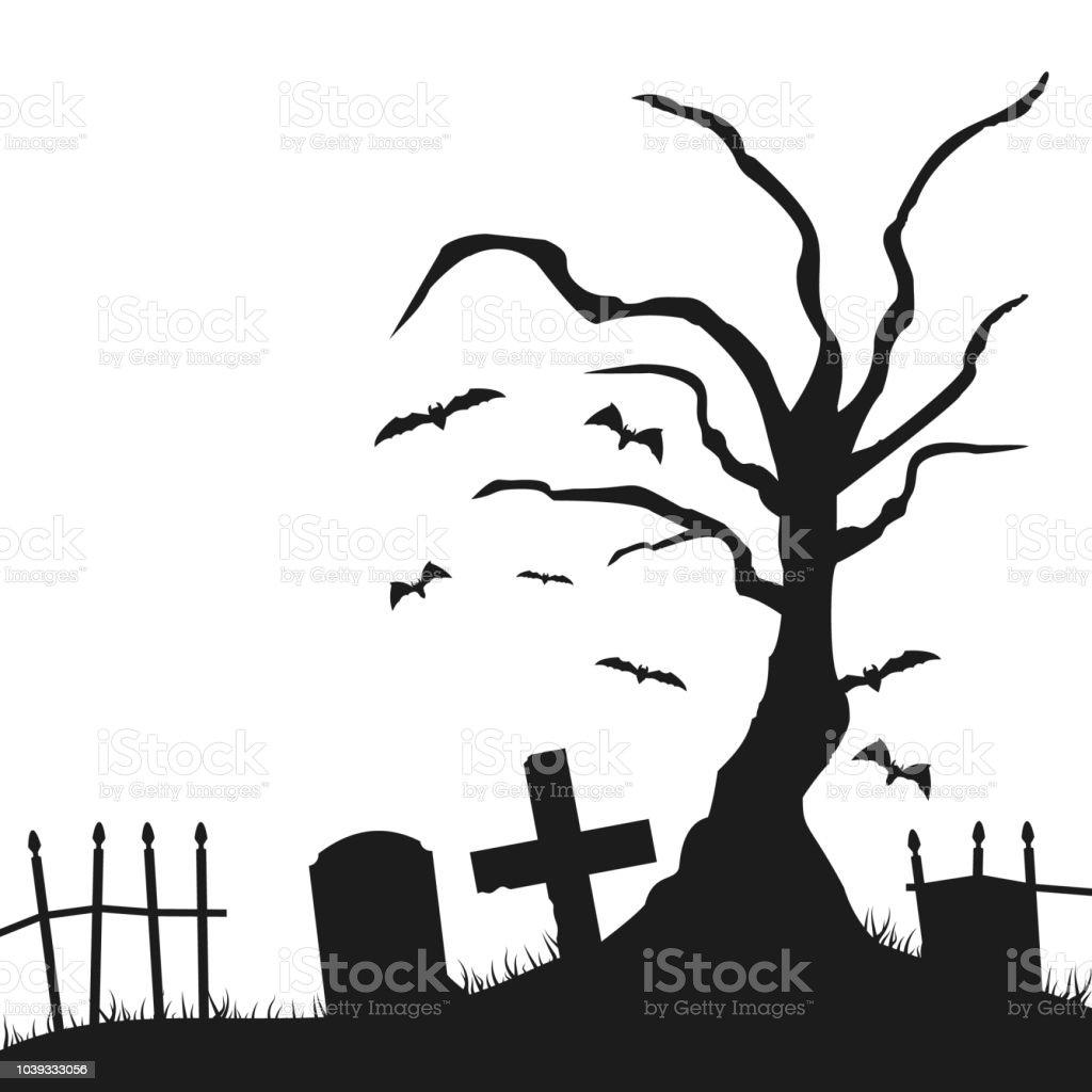 Tree Grave Halloween Silhouette Stock Illustration Download Image Now Istock