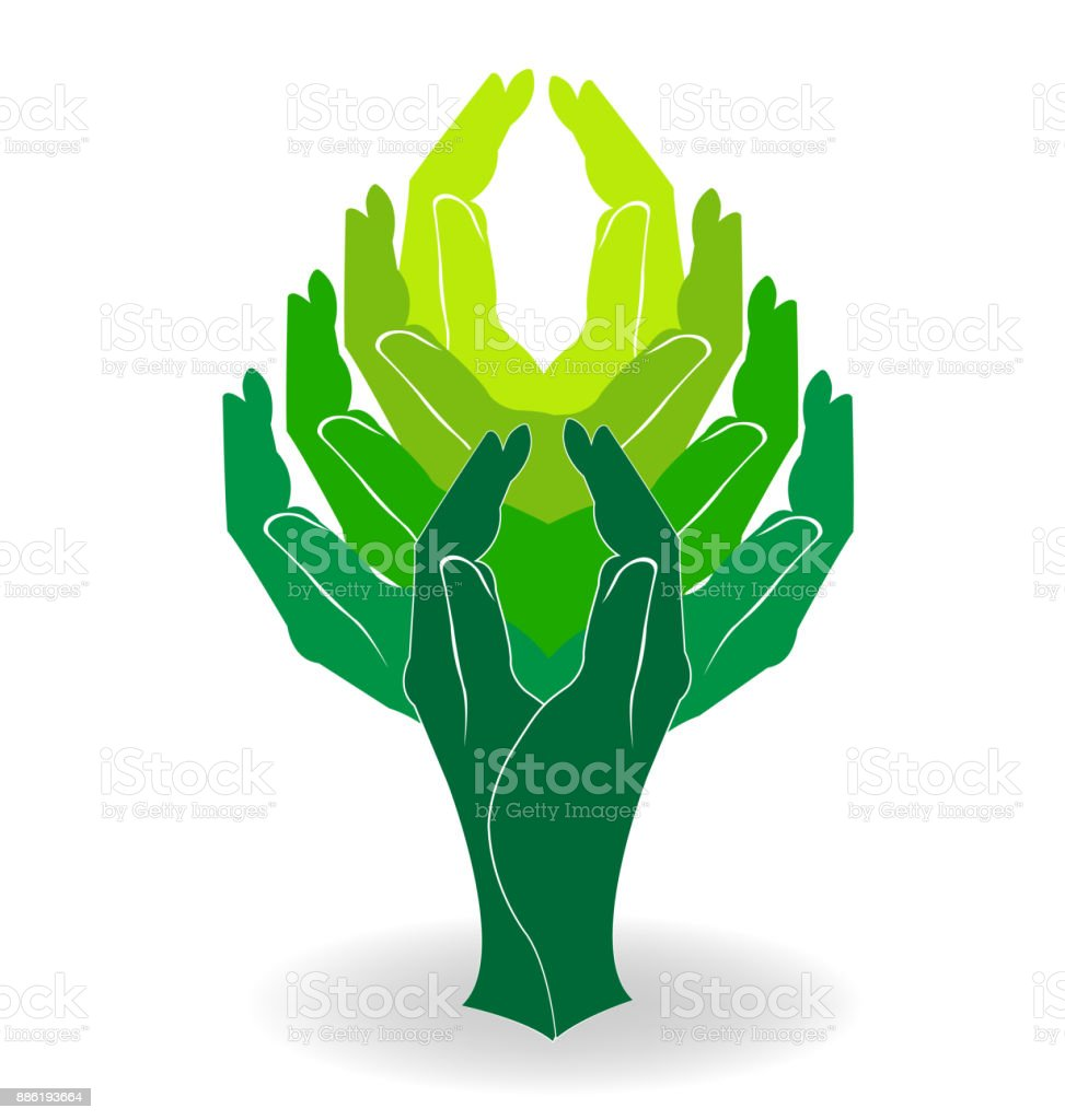 Tree Green Hands Family Symbol Image Icon Stock Vector Art More