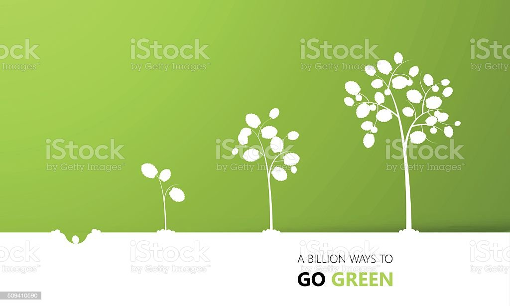 Tree growth eco concept design, vector vector art illustration