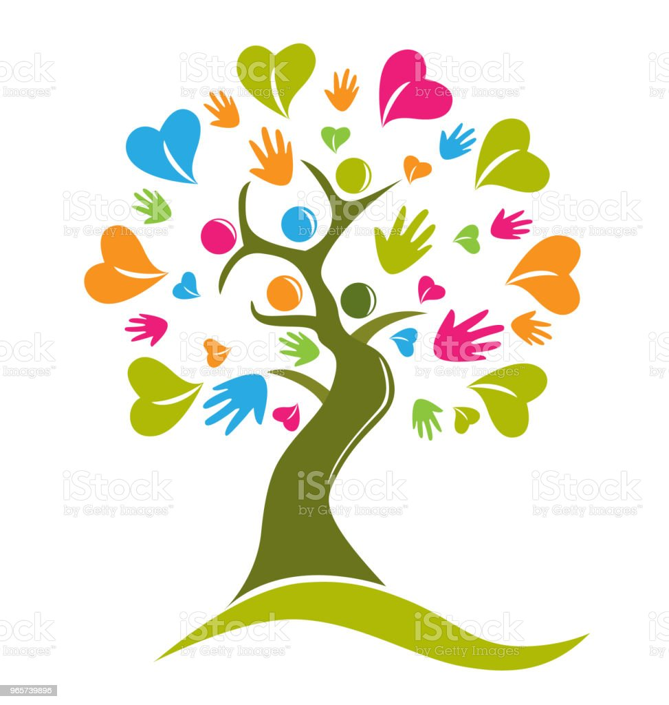 Tree hands and hearts figures icon id card vector - Royalty-free Abstrato arte vetorial