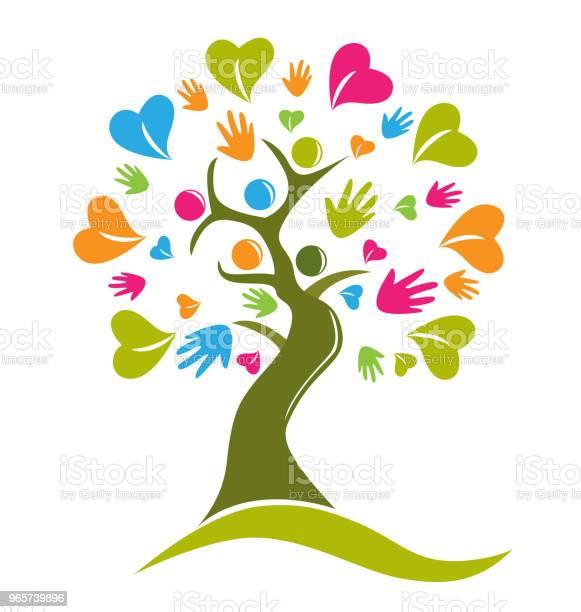 Tree Hands And Hearts Figures Icon Id Card Vector - Arte vetorial de stock e mais imagens de Abstrato