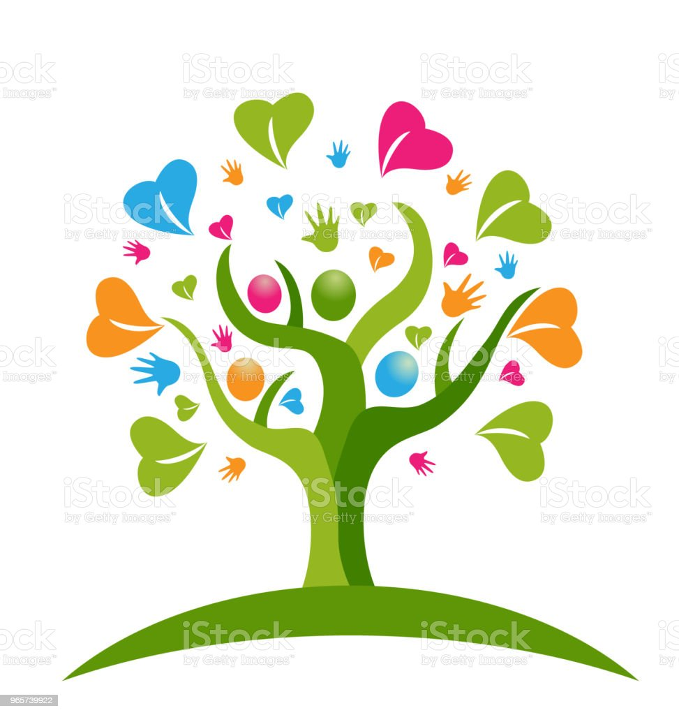 Tree hands and hearts figures icon id card vector - Royalty-free A Helping Hand stock vector