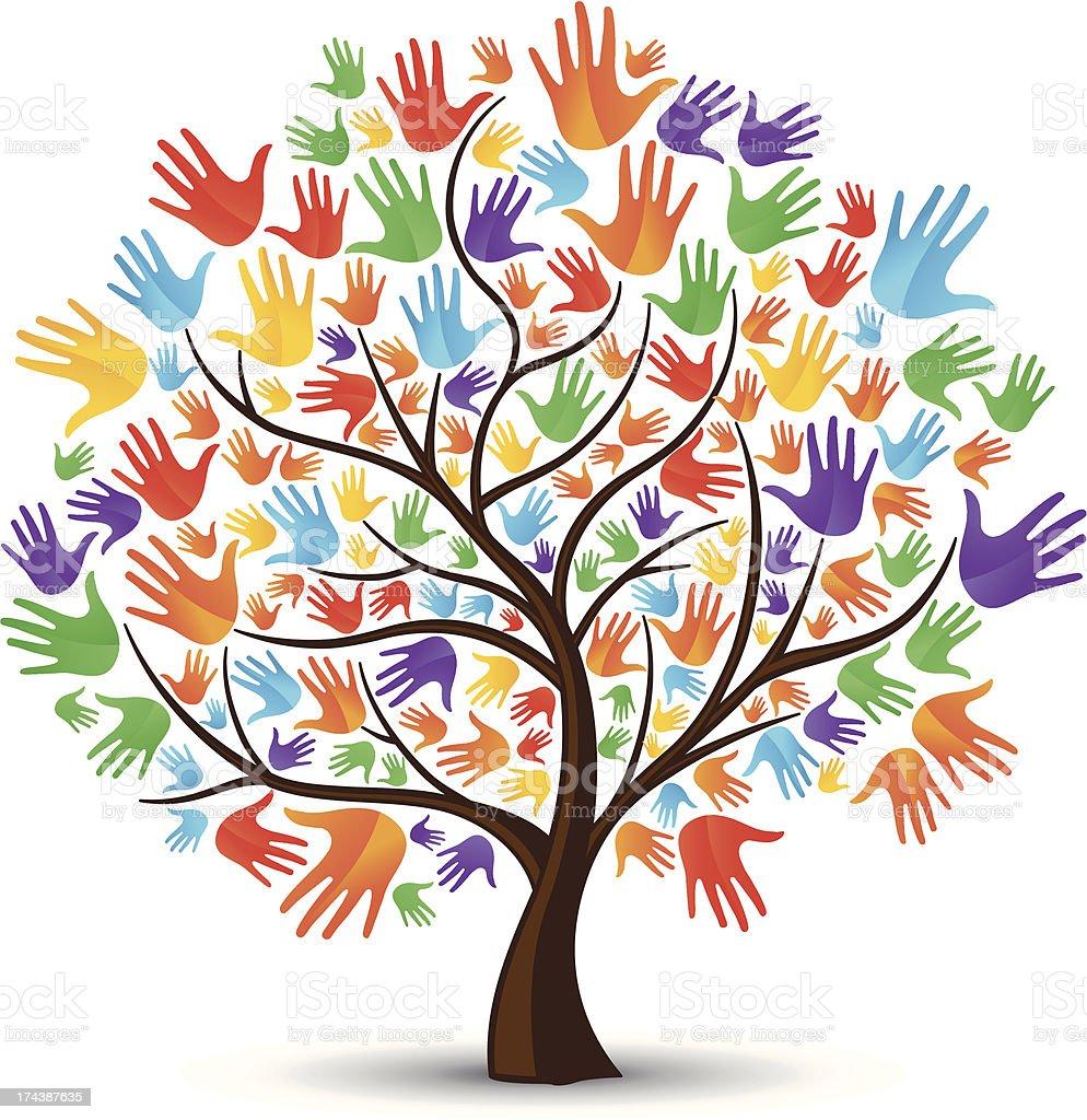 Tree hands coloured vector art illustration