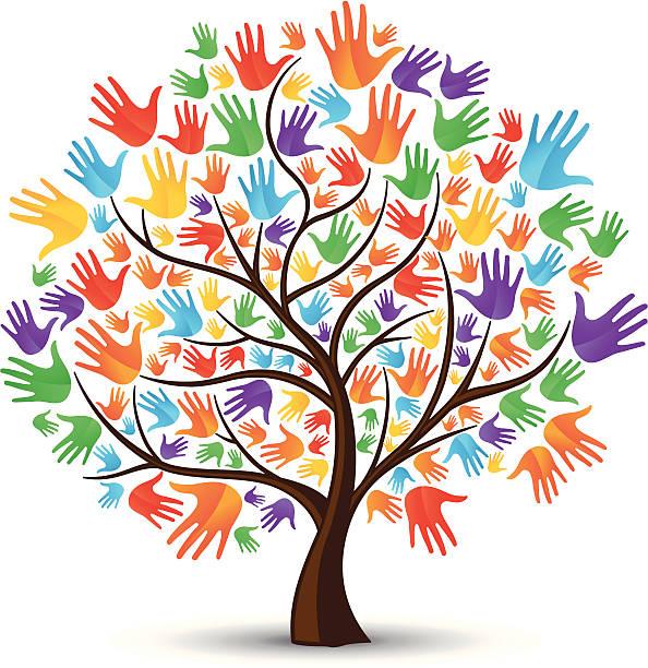 arbre mains multicolores - arbre coloré