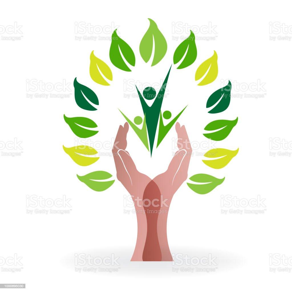 Tree Hands Teamwork People Family Symbol Vector Stock Vector Art