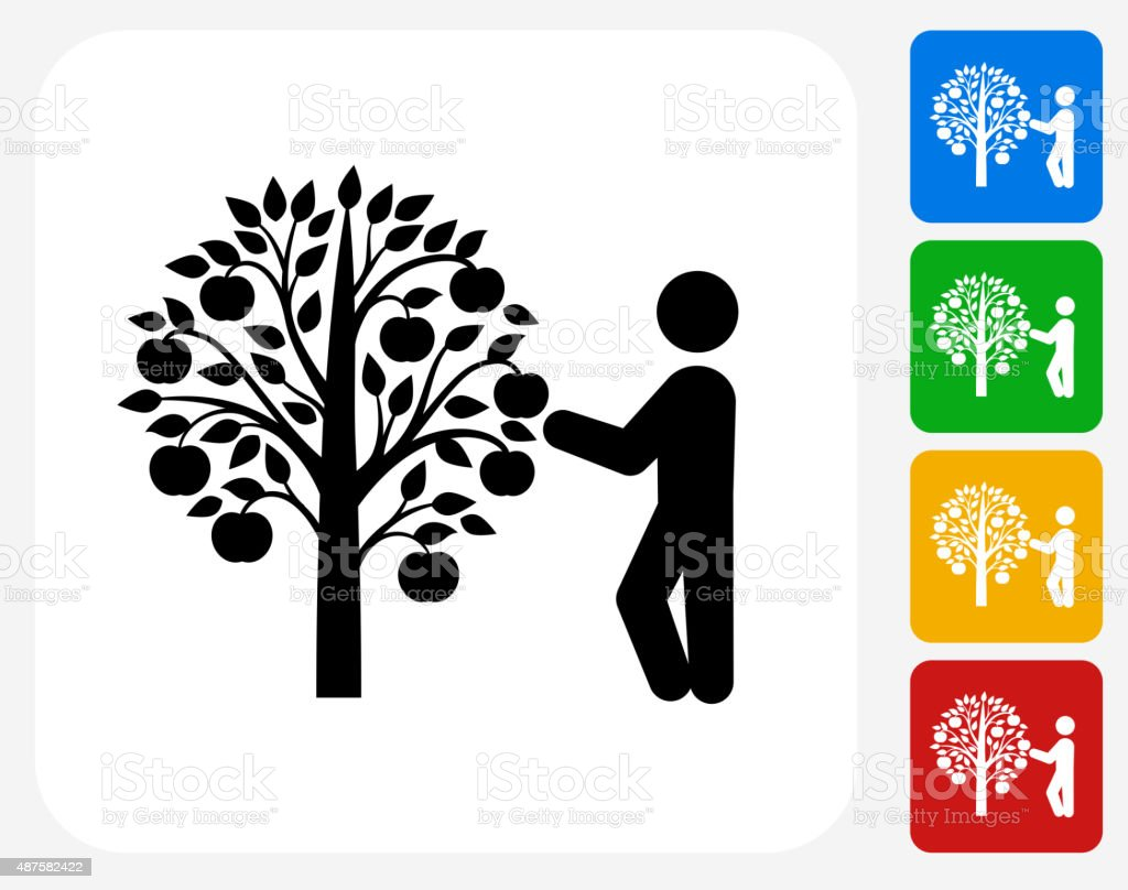 Tree Harvest Icon Flat Graphic Design vector art illustration