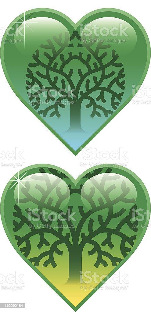 Tree heart two vector art illustration