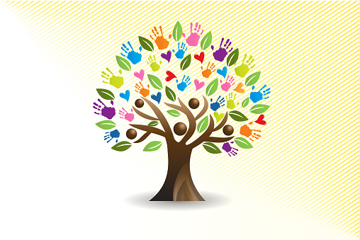 Tree hearts and hands people vector image