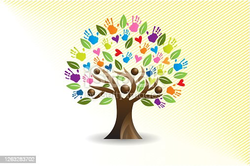 istock Tree hearts and hands people vector image 1263283702