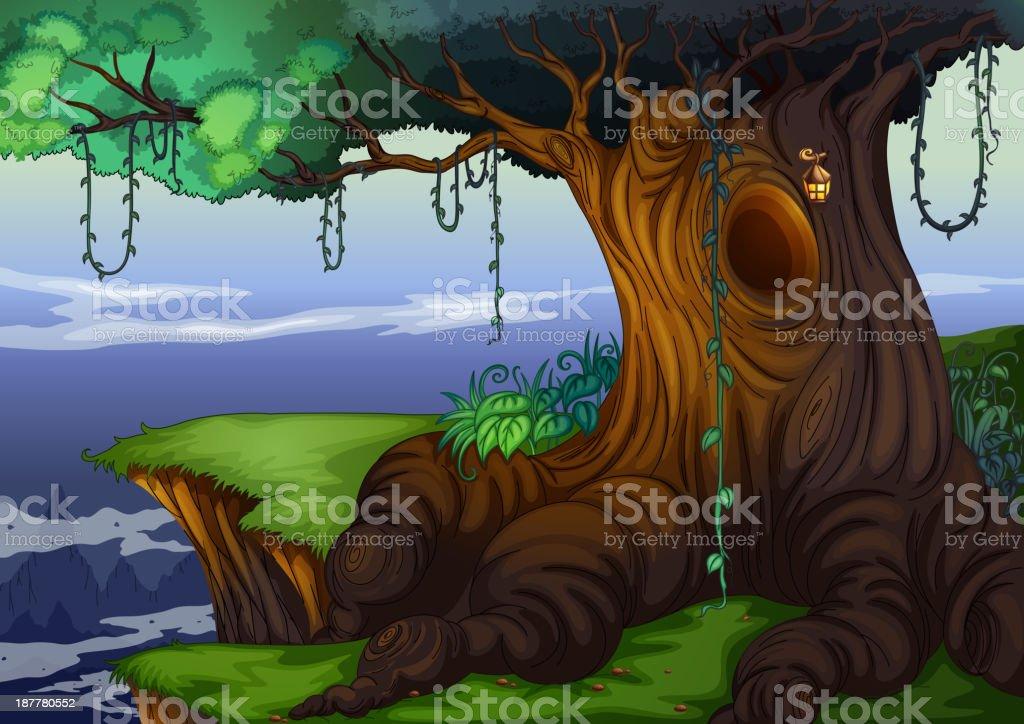 Tree hollow vector art illustration