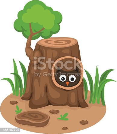 istock tree hollow with an owl on a white background,vector 485107704