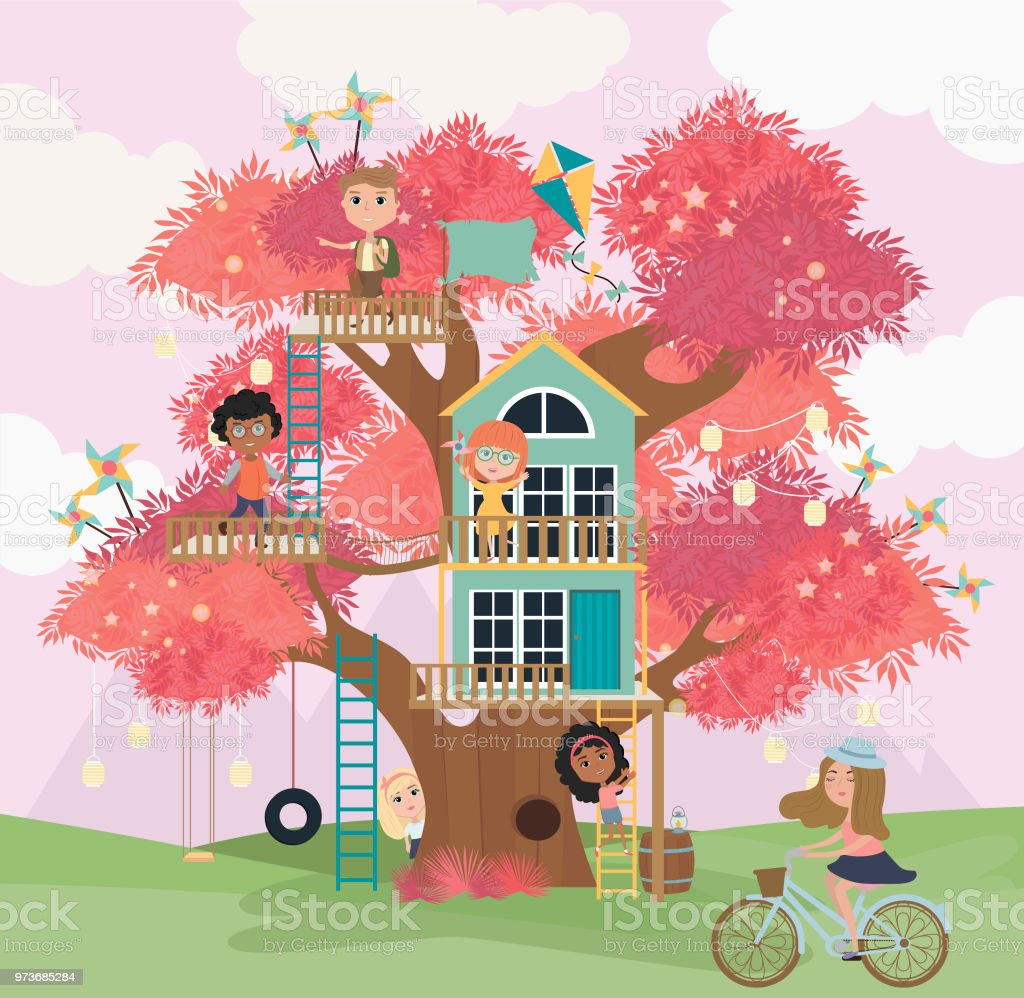 Tree house cartoon illustration with kids vector art illustration