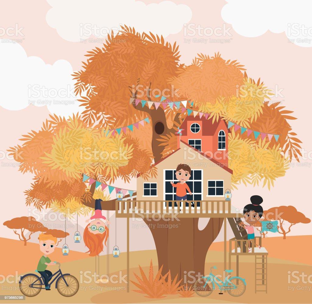 Tree house cartoon illustration with kids vector art illustration