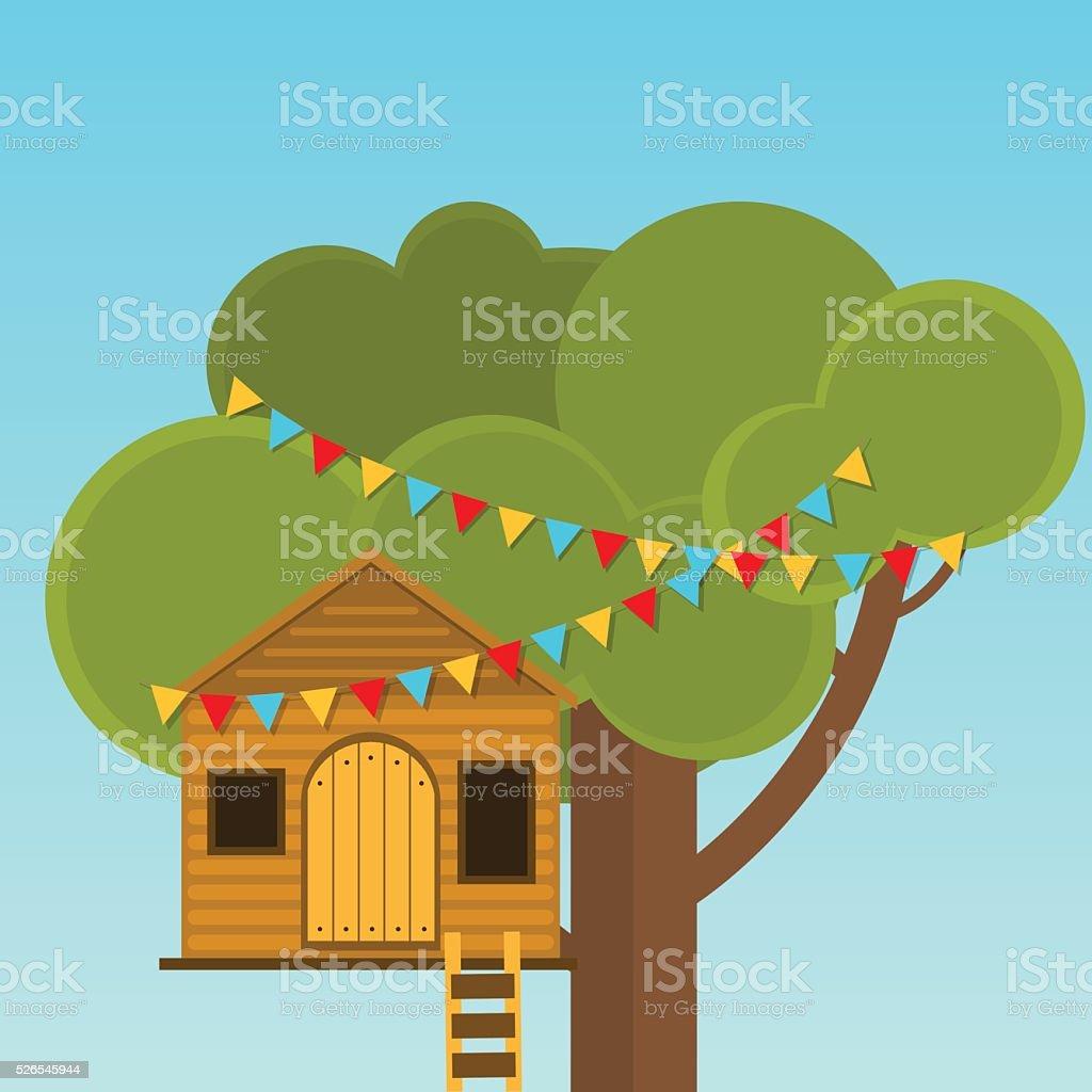 Baum Haus Spiele Für Kinder. Spielhaus Auf Den Baum. Lizenzfreies Baum Haus  Spiele Für