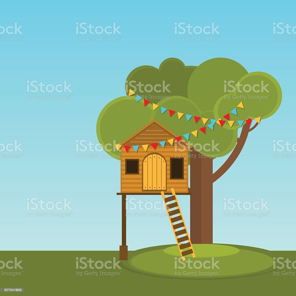 Baum Haus Spiele Für Kinder. Lizenzfreies Baum Haus Spiele Für Kinder Stock  Vektor Art Und
