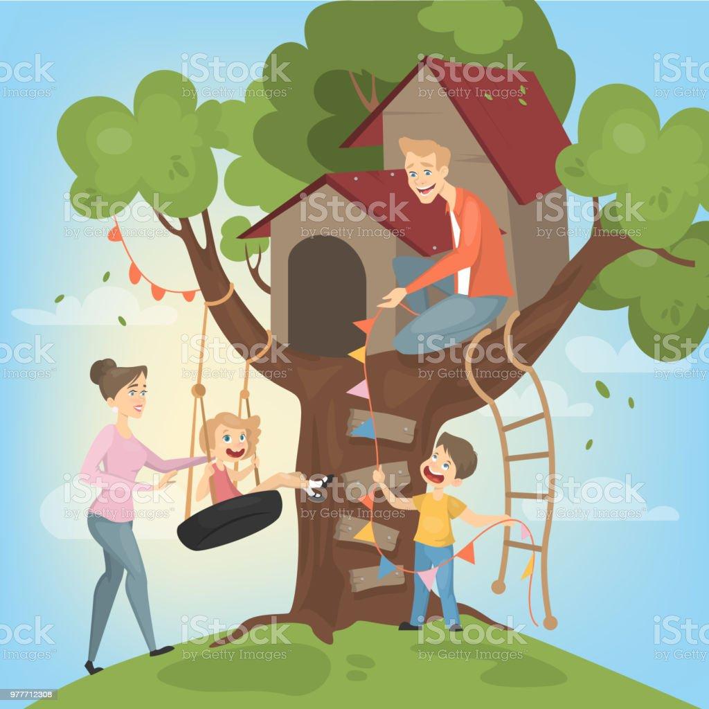 Tree house for children. vector art illustration
