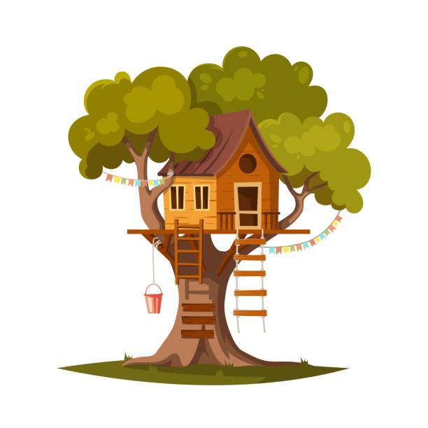 1 093 Tree House Illustrations Royalty Free Vector Graphics Clip Art Istock 3d fantastic cartoon tree house branch cartoon dream, formats obj, fbx, ma, mb, ready for 3d animation and other 3d projects. 1 093 tree house illustrations royalty free vector graphics clip art istock