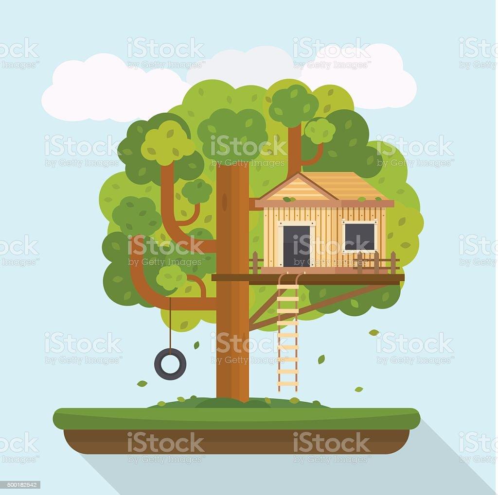 Tree house. House on tree for kids.