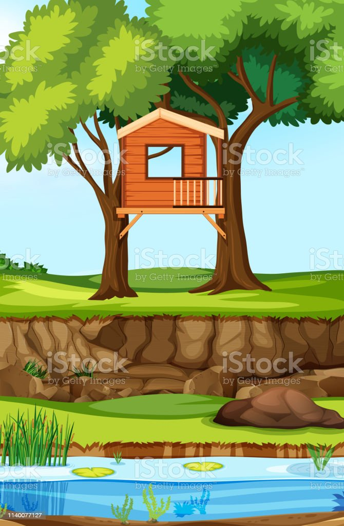 Tree House In Nature Stock Vector Art & More Images of Art ... on yurt plans free, tree houses for free, furniture plans free, deck plans free, home plans free, cottage plans free, tree houses to live in, houseboat plans free, fire pit plans free, tree stand plans, swings plans free, boat plans free, tree royalty free, tree platform plans, garage plans free, tree business free, build a house for free, wood plans free, box tree stand blueprints free, tree roots outline clip art,