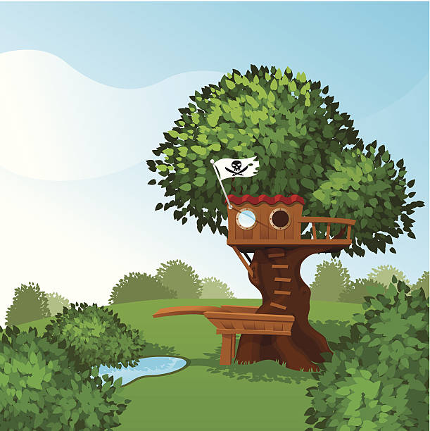 Tree House - pirate style vector art illustration
