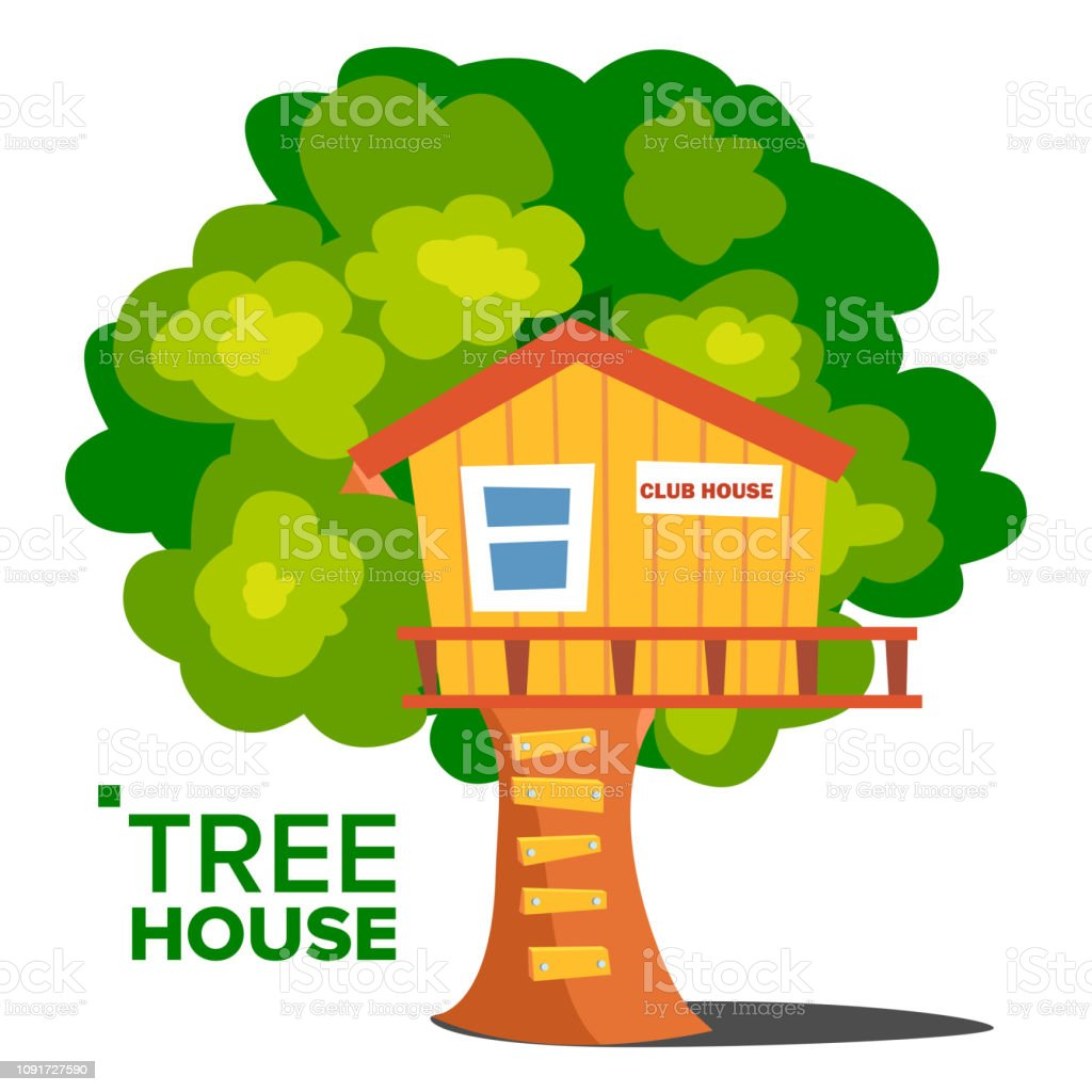 Tree House Vector. Children Playground. House On Tree. Wooden Cabin For Kids. Isolated Flat Cartoon Illustration